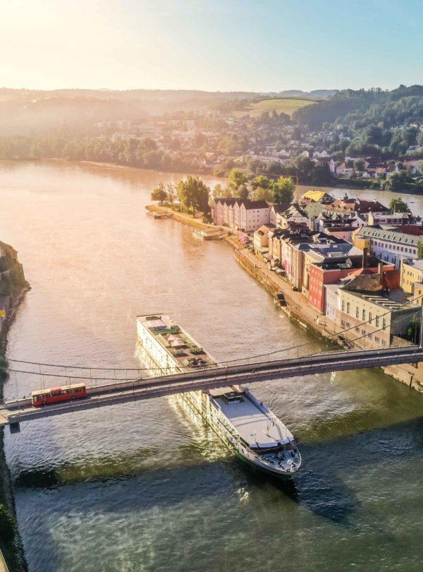 Luftbild Passau Schifffahrt