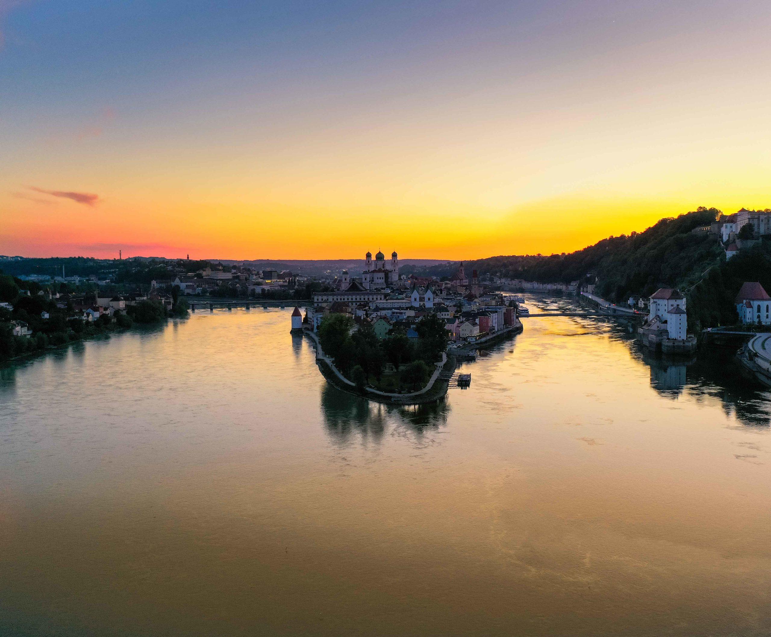 Sonnenuntergang Passau Ortspitze